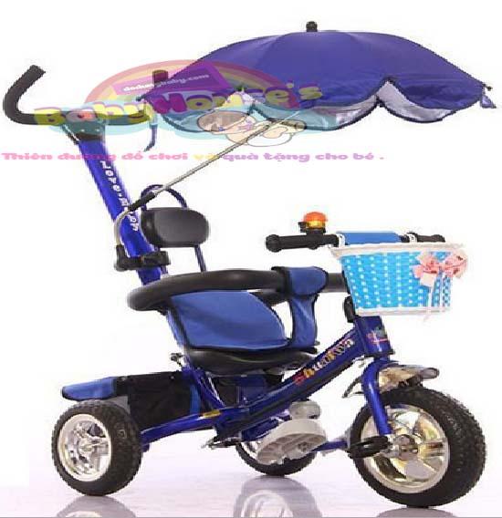 xe ba bánh đẩy trẻ em ô che cao cấp