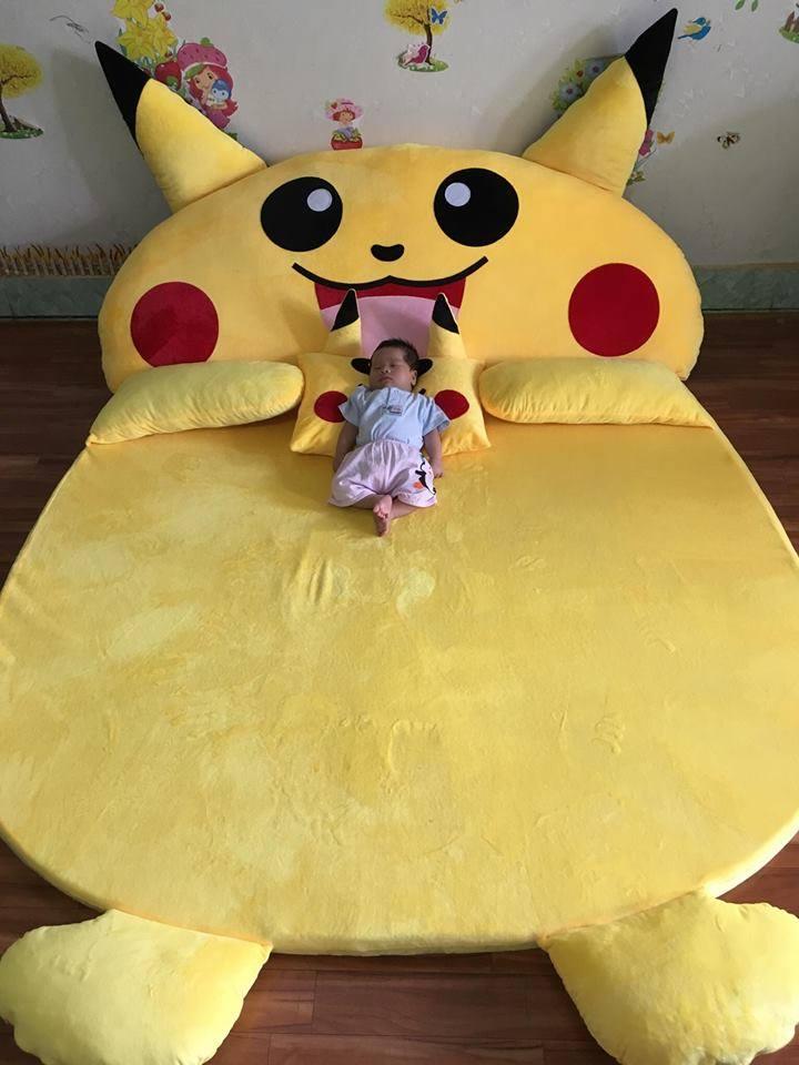 Đệm hình thú Pikachu ruột cao su non