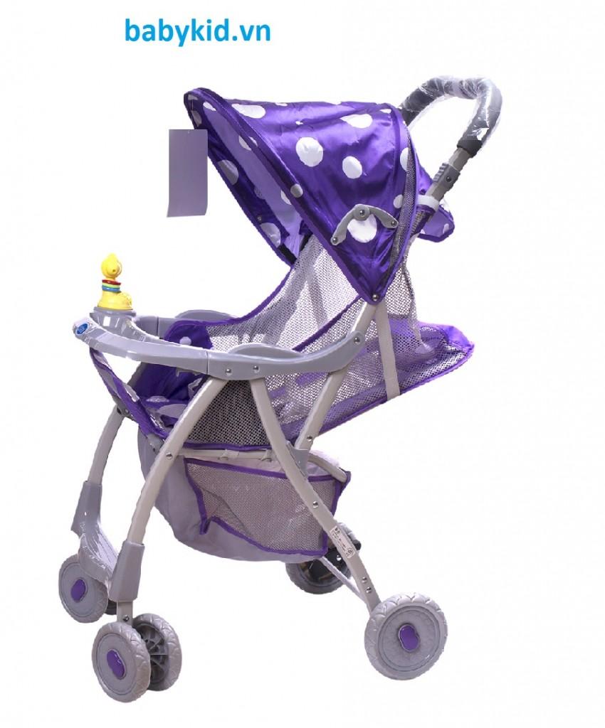Xe đẩy trẻ em HP-722C chấm bi màu tím
