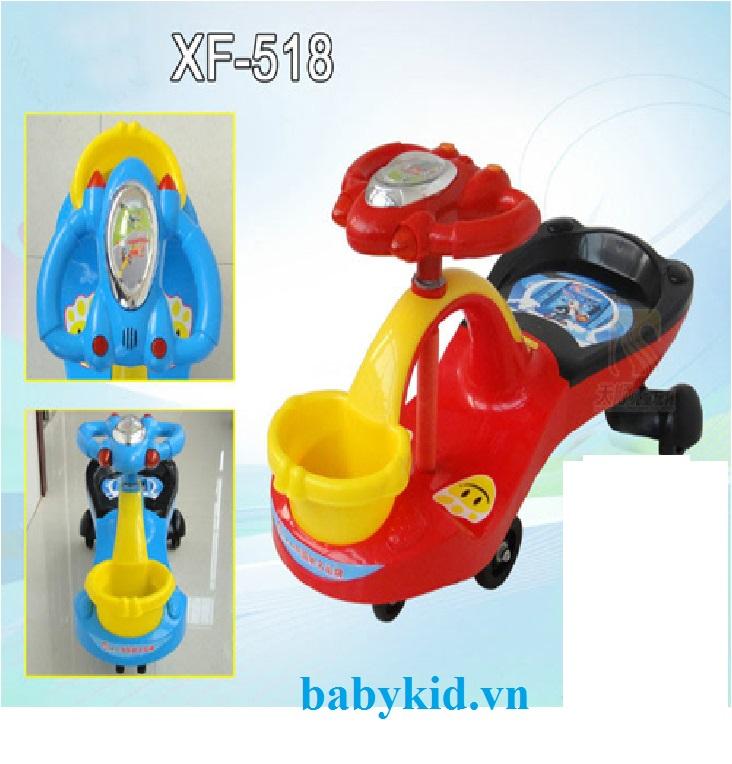 Xe lắc trẻ em ST-518 có giỏ màu đỏ