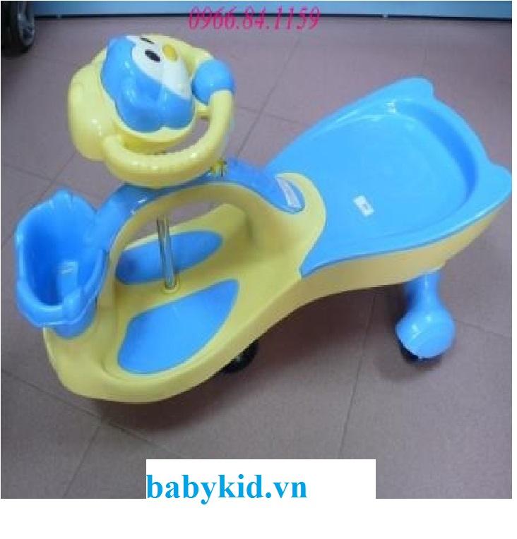 Xe lắc trẻ em ST-518 có giỏ màu xanh