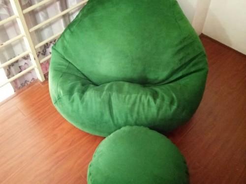 Ghế lười hạt xốp da lộn xanh lá cây GL L056 (2)