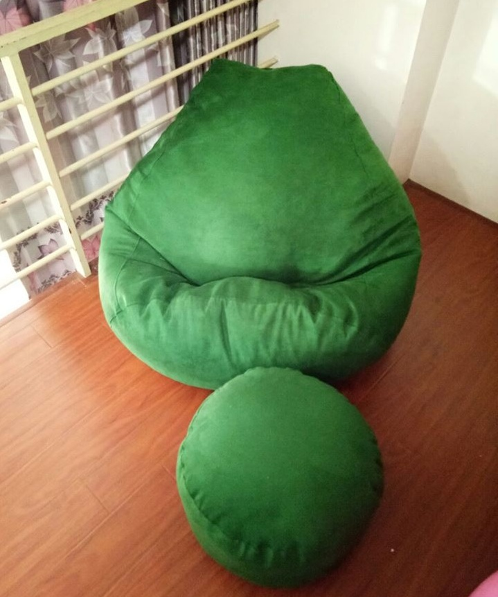 Ghế lười hạt xốp da lộn xanh lá cây GL L056