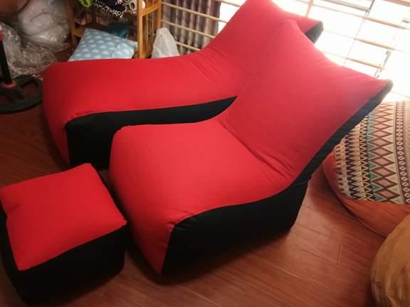 Ghế lười hạt xốp dáng sofa đơn màu đỏ SF02