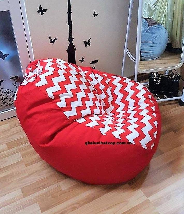 ghế lười hạt xốp dáng lê sóng đỏ GL L031 (M)