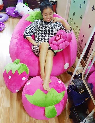 ghế lười dâu tây hồng