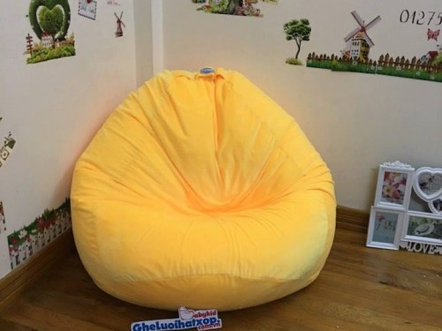 Ghế lười hạt xốp dáng lê màu vàng GL L055 (1)