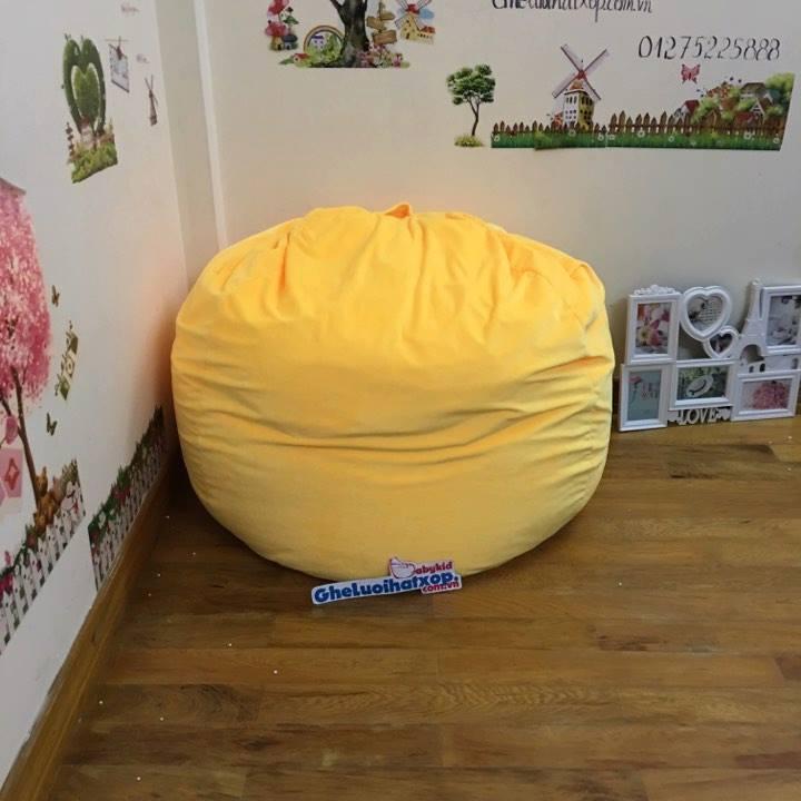 Ghế lười hạt xốp dáng lê màu vàng GL L055