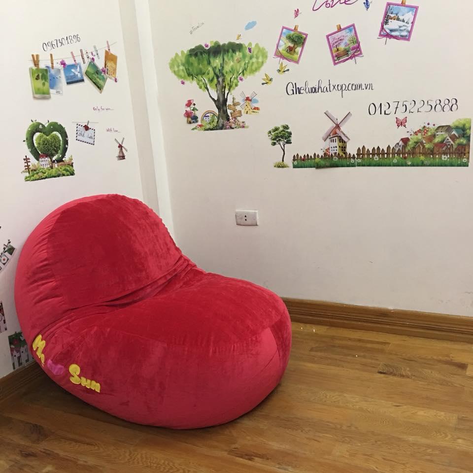 Ghế lười hạt xốp dáng oval nhung đỏ GL O096