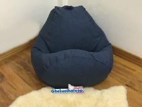 Ghế lười hạt xốp da lộn màu xám xanh GL L057