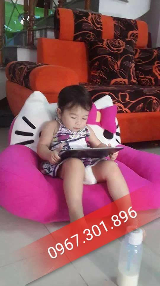 ghế lười hạt xốp dáng sofa Hello kitty (2)