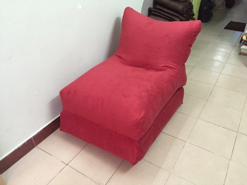ghế lười hạt xốp dáng sofa ghép màu đỏ