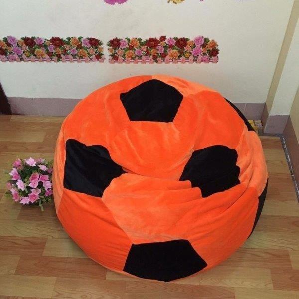 ghế lười hạt xốp hình quả bóng cam - đen