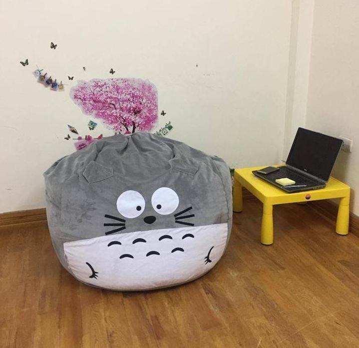 Ghế lười hạt xốp hình Totoro màu ghi xám GL L061