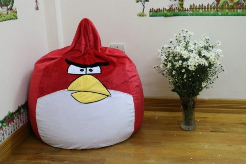 Ghế lười hạt xốp dáng lê hình Angry Bird GL L092