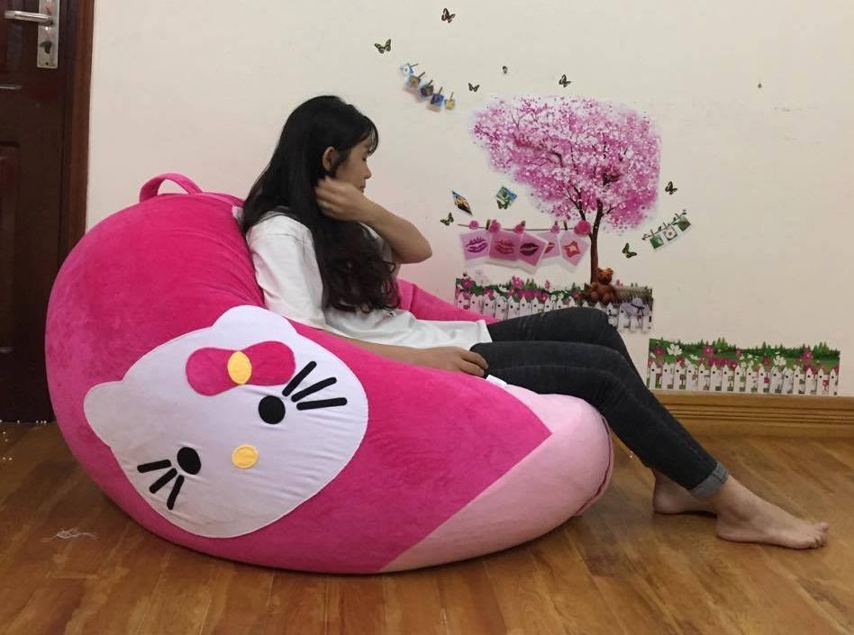 Ghế lười dáng lê nhung hồng Kitty GL L064