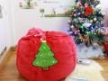 Ghế lười hạt xốp dáng lê chất nhung hình mũ Noel đỏ GL L100 (2)