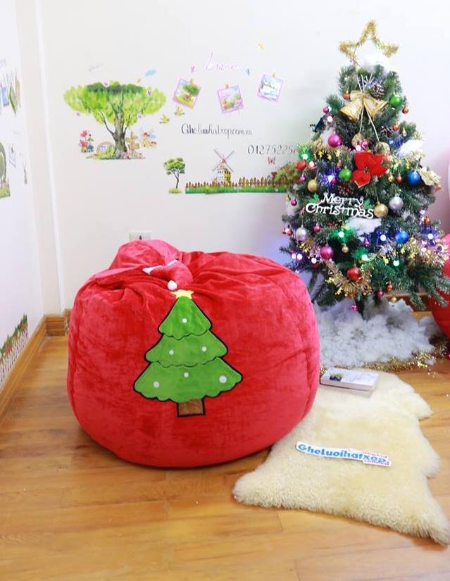 Ghế lười hạt xốp dáng lê chất nhung hình mũ Noel đỏ GL L100