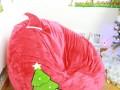 Ghế lười hạt xốp dáng lê chất nhung mũ Noel đỏ GL L100 (7)