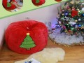 Ghế lười hạt xốp dáng lê chất nhung mũ Noel đỏ GL L100 (8)