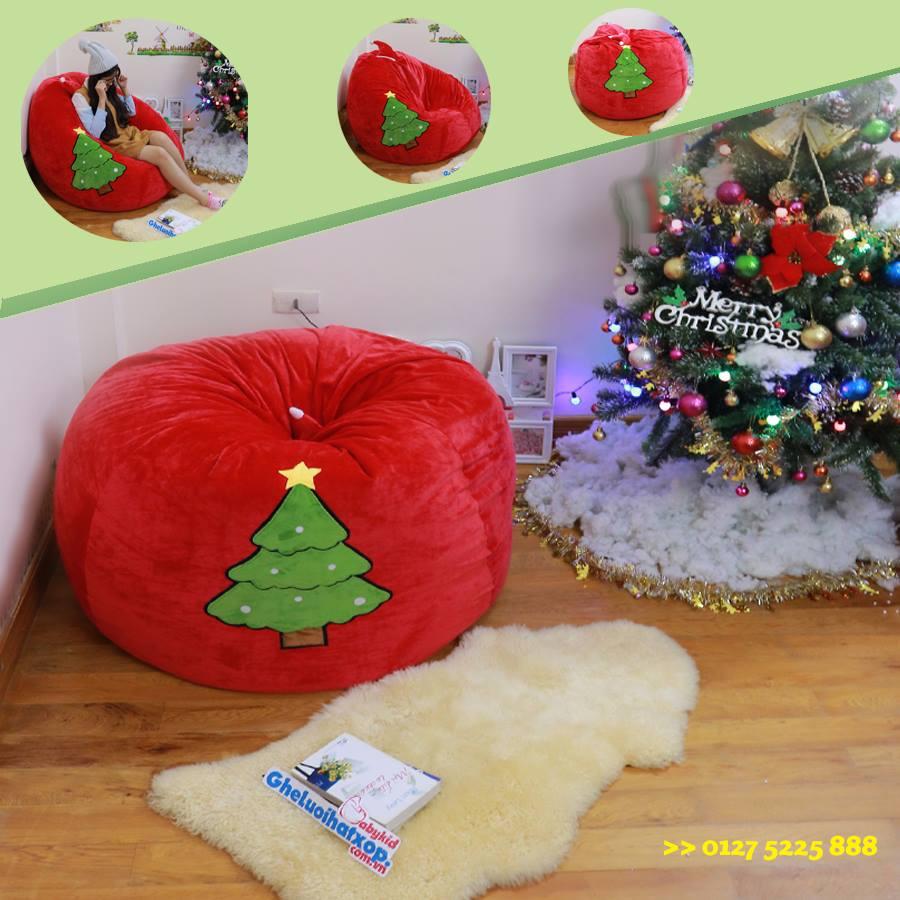 Ghế lười hạt xốp dáng lê chất nhung mũ Noel đỏ GL L100