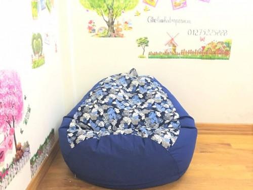 Ghế lười hạt xốp dáng lê cotton pha tín than GL L076 (3)