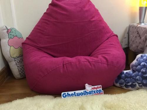 Ghế lười hạt xốp dáng lê da lộn màu hồng GL L12