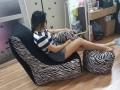 Ghế lười hạt xốp dáng sofa đơn vằn GL SF003 (2)