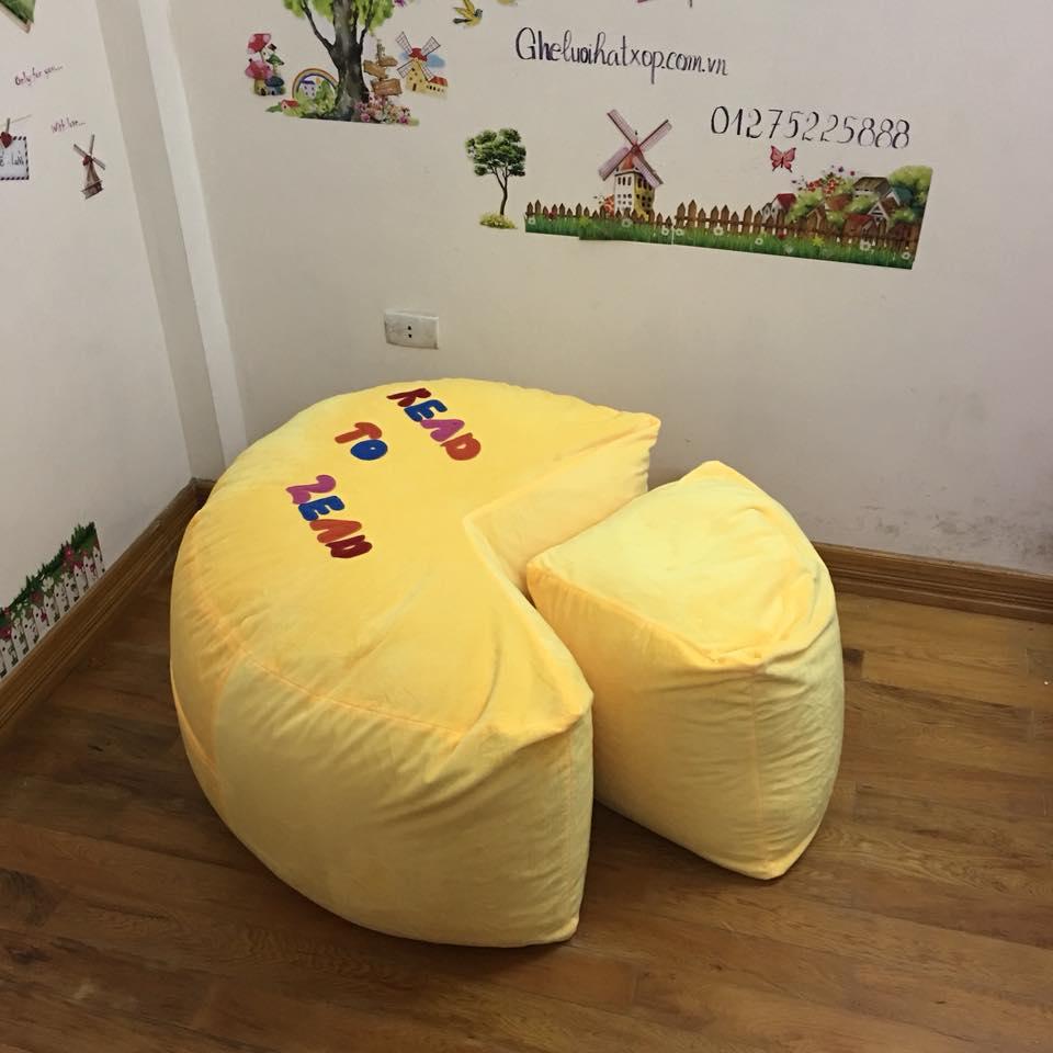 Ghế lười hạt xốp dáng sofa chất nhung màu vàng GL S098