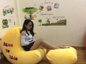 Ghế lười hạt xốp dáng sofa chất nhung màu vàng GL S098 (3)