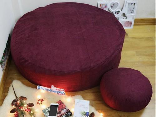 Ghế lười hạt xốp dáng tròn da lộn đỏ mận GL T099
