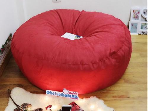 Ghế lười hạt xốp dáng tròn da lộn màu đỏ GL T103