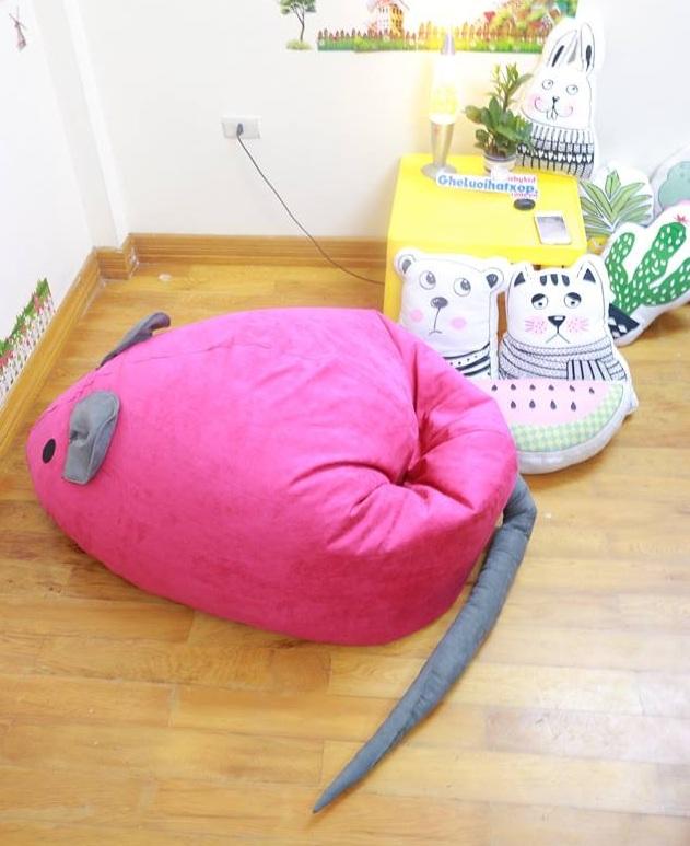 Ghế lười hạt xốp hình chuột hồng GL C081