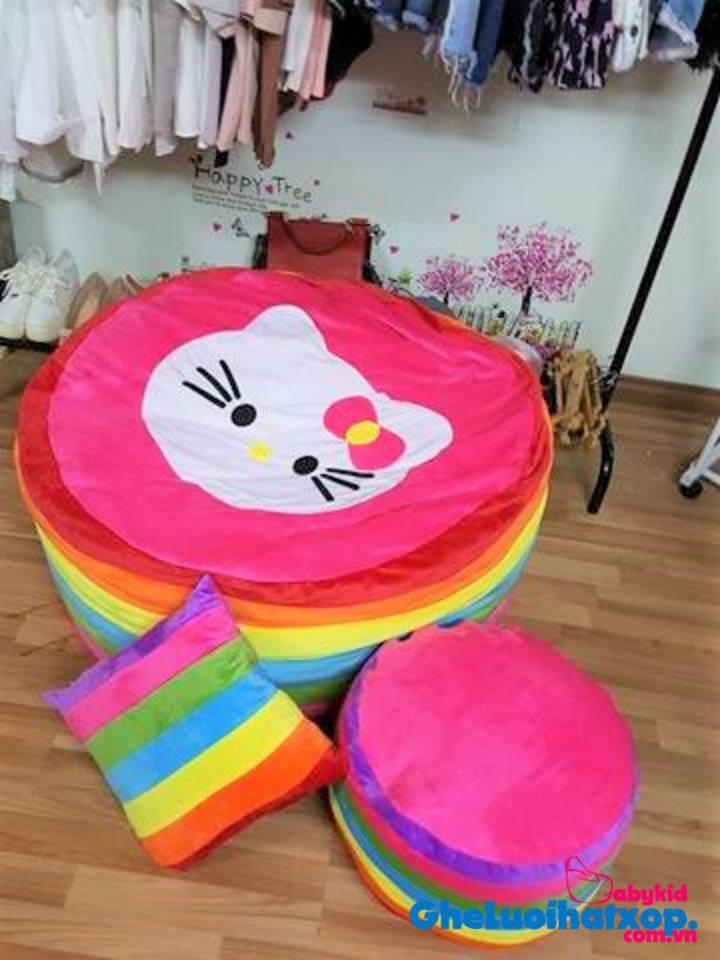 Ghế lười hạt xốp hình tròn phối 7 màu-Kitty GL T05