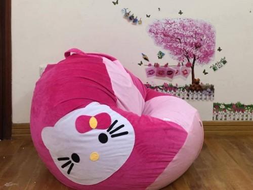 ghế lười hạt xốp dáng lê nhung hồng Kitty GL L064 (3)