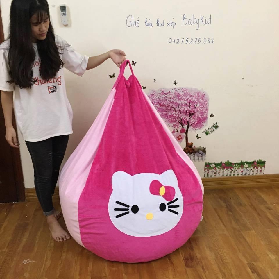 ghế lười hạt xốp dáng lê nhung hồng Kitty GL L064