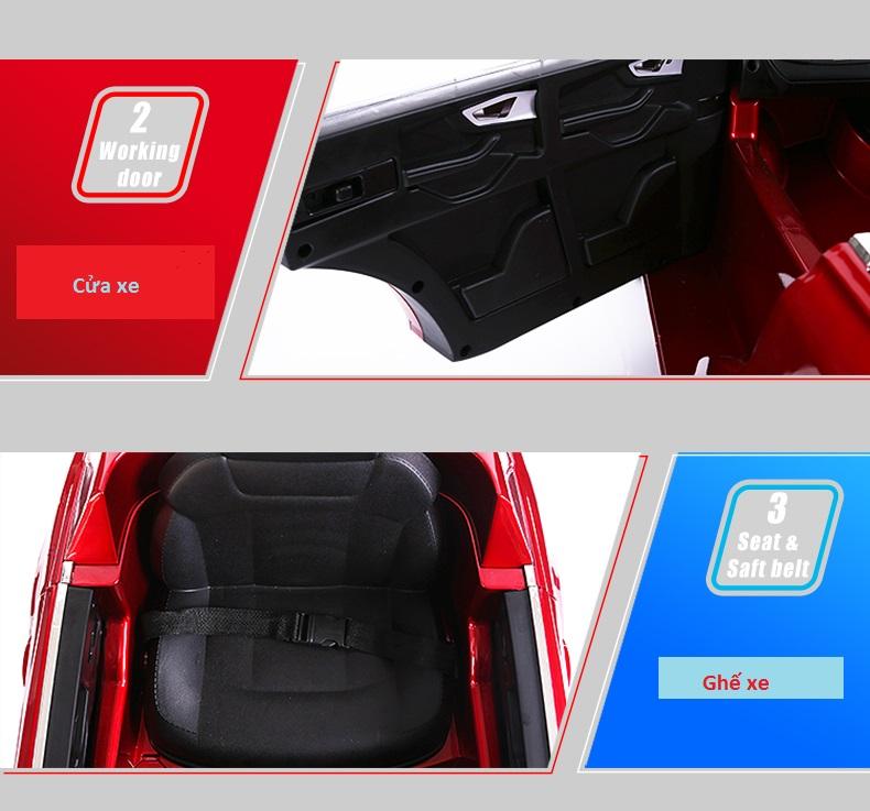 xe ô tô điện trẻ em Audi Q7 vô lăng-cửa
