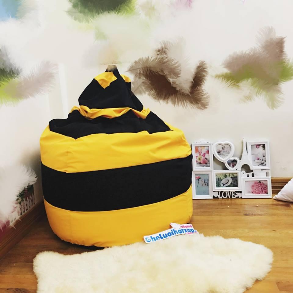 Ghế lười hạt xốp dáng lê ong vàng GL L111