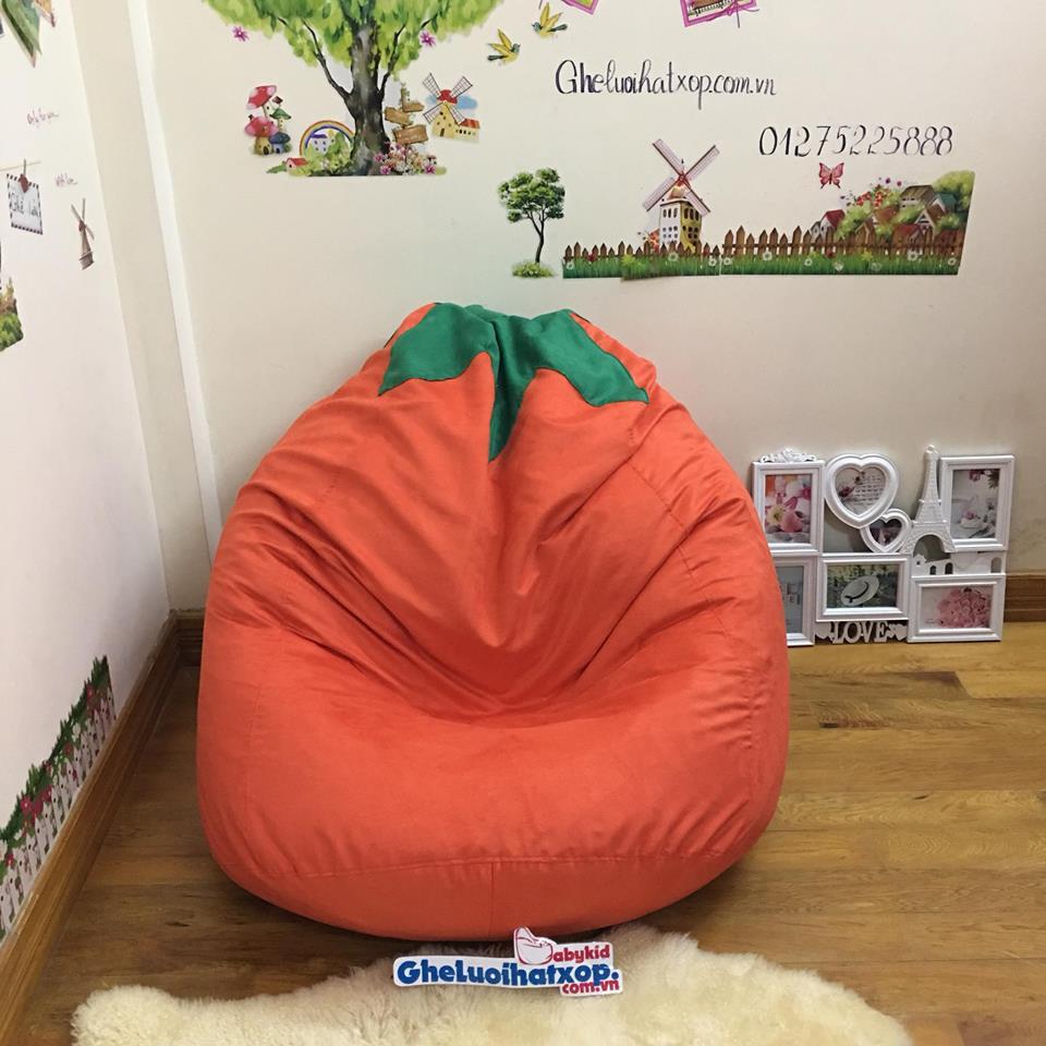 Ghế lười hạt xốp hình quả cà chua cam GL L113