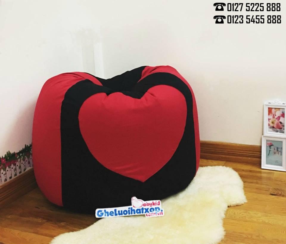 Ghế lười hạt xốp dáng lê trang trí hình trái tim GL L116