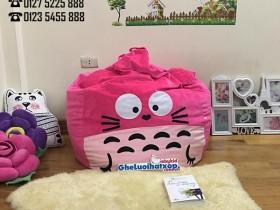 Ghế hạt xốp hình Totoro màu hồng chất nhung GL L128 (1)