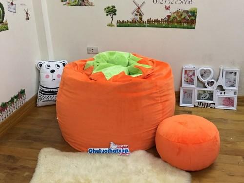 Ghế lười hạt xốp chất nhung màu cam carot GL L122 (3)