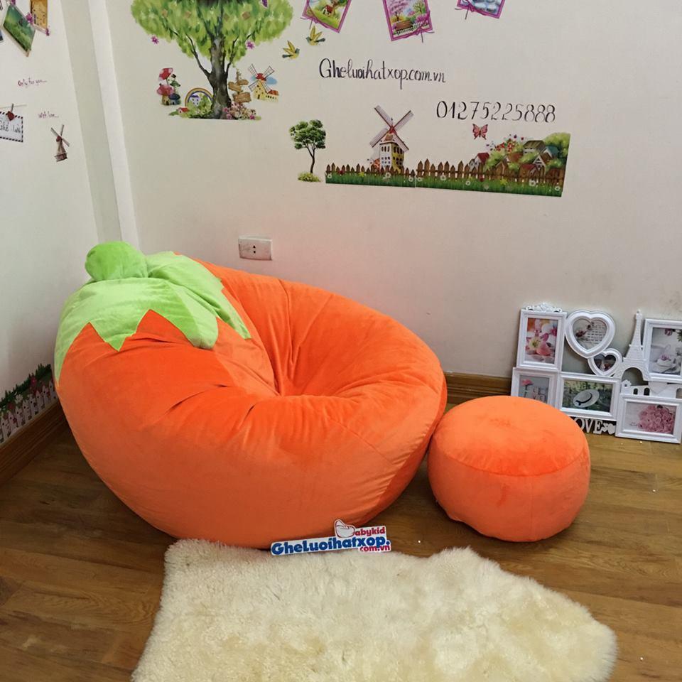 Ghế lười hạt xốp chất nhung màu cam carot GL L122