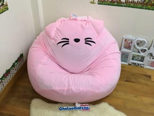 Ghế lười hạt xốp hình Mèo màu hồng nhạt GL L121 (2)