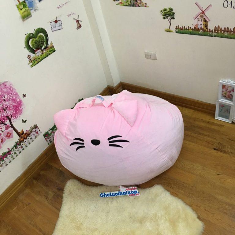 Ghế lười hạt xốp hình Mèo màu hồng nhạt GL L121