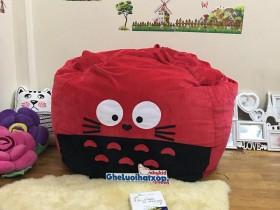 Ghế lười hạt xốp hình Totoro đỏ chất nhung GL L125 (1)