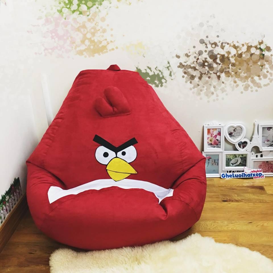Ghế lười hạt xốp chất da lộn hình Angry Bird GL L136