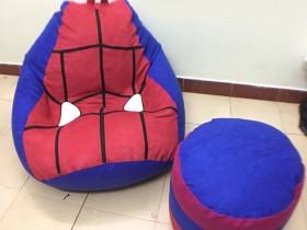Ghế lười hạt xốp hình Spider Man chất da lộn GL L137 (1)