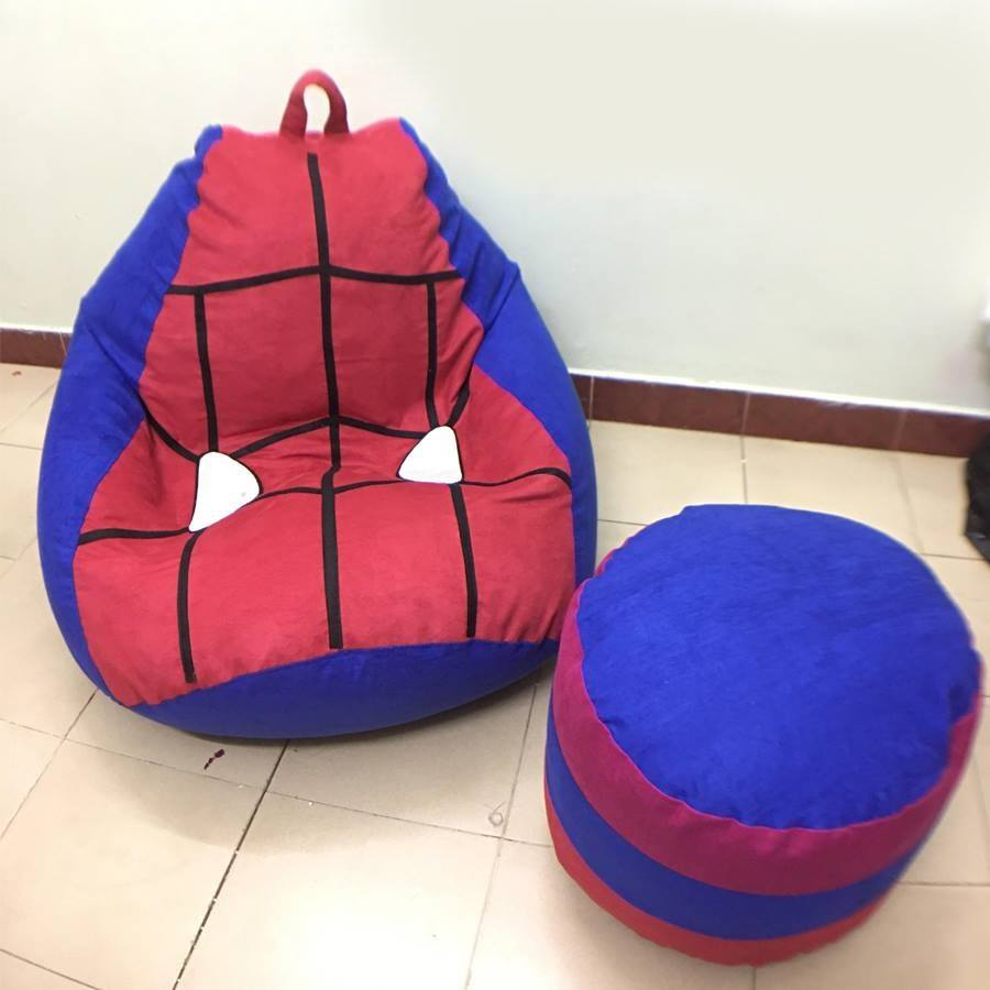 Ghế lười hạt xốp hình Spider Man chất da lộn GL L137