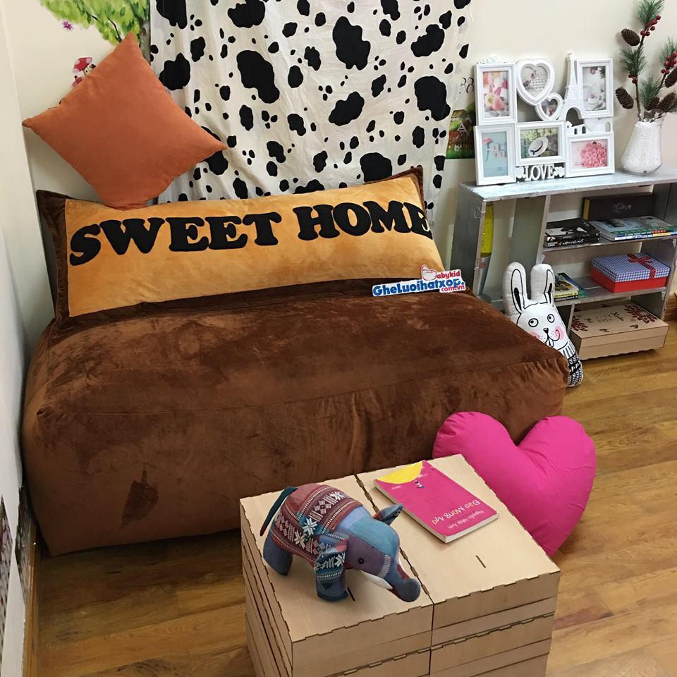Set ghế hạt xốp sofa hình chữ nhật chất nhung màu nâu SF012